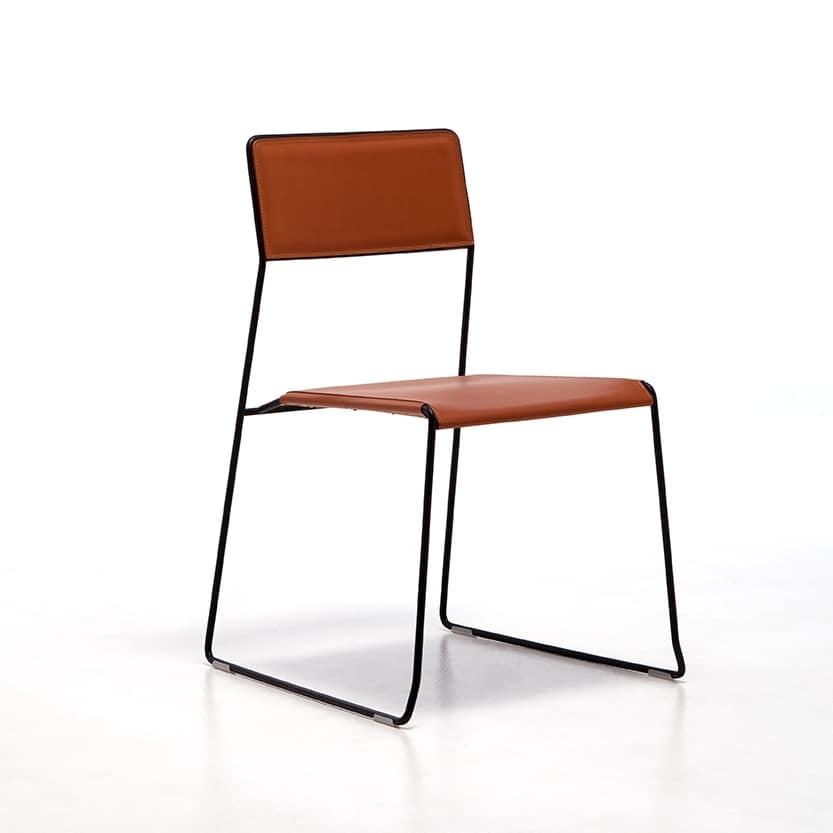 Log leather, Des chaises en métal, assise et dossier en cuir régénéré, pour bar et restaurant