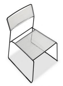 Log spaghetti, Métal chaise empilable, assise et dossier en corde PVC, également pour une utilisation en extérieur