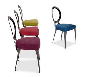Miss chaise, Chaise avec structure en fer, siège rembourré en caoutchouc