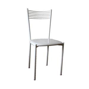 Zara, Chaire en métal laqué blanc, siège en faux cuir