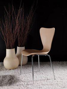 Art. 054 Triannon, Chaise en métal, assise en bois naturel ou laqué