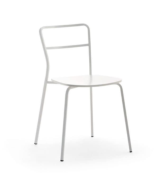 Axelle bois, Chaise avec siège en bois, pour cuisine et contrat