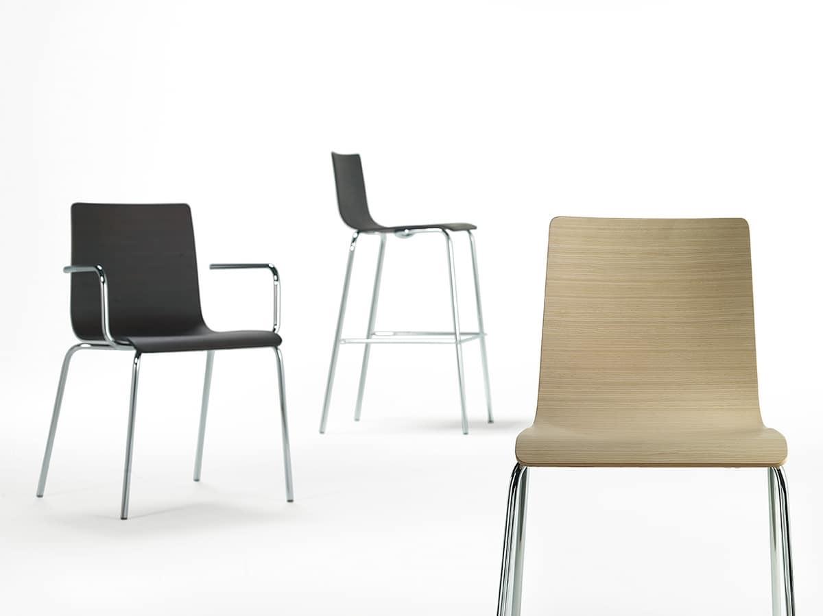 Tesa wood, Chaise en métal avec coque en bois, différentes finitions