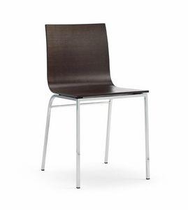 LIRA, Chaise en bois et métal chromé, pour les bars