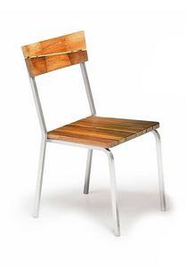 Sorrento/s, Chaise d'extérieur, bois d'iroko et de l'acier, empilable