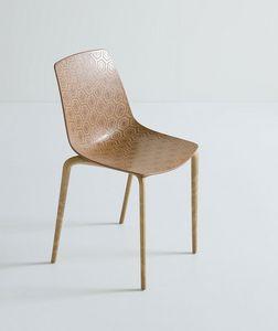 Alhambra Eco cod. 92/NAECO, Chaises avec coque en plastique cadre en bois, composite