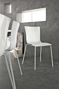 ARIA EASY, Chaise empilable moderne, en métal plastique, pour la cuisine et le bar