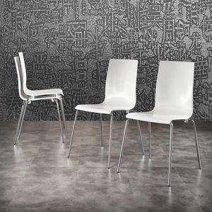 Art. 044 Kris, Polypropylène blanc chaise, jambes en métal chromé