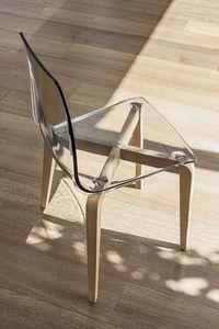 BERLINO SE506, Chaise avec structure en bois, assise en polycarbonate, style moderne