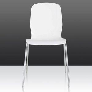 Glamour, Chaise en acier chromé avec coque en polycarbonate, disponible en différentes couleurs