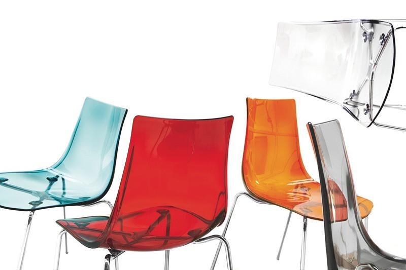 Jazz, Chaise en métal avec assise en plastique transparent