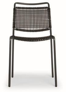 Moon, Chaise en métal avec le siège de la ficelle synthétique et retour