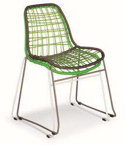 Net, Chaise en métal et ficelle synthétique, également pour l'extérieur