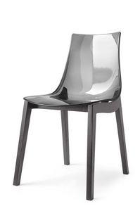 Oliver, Chaise en hêtre, coque en plastique, pour la maison et les bars