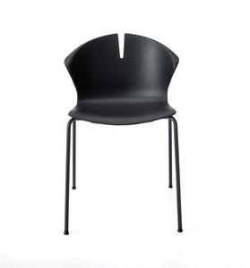 Red Hot 4 jambes, Chaise empilable pour la communauté, avec coque en polypropylène