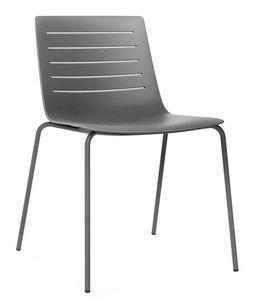 Slim 01, Chaise en métal avec coque en plastique adapté pour les bars et les cuisines modernes