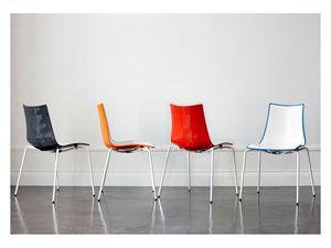 Zebra Bicolor, Chaise en plastique à deux tons, avec structure en acier