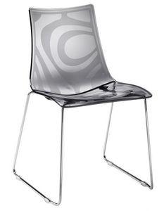 Zebra S, Chaise en métal avec siège en polycarbonate, empilable