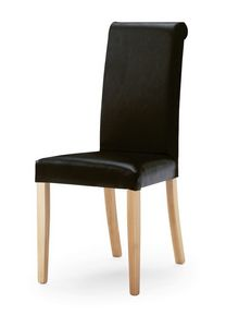 0320/R, Chaise rembourrée avec grand dossier, les jambes en bois