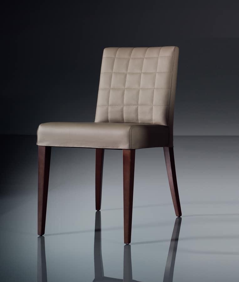 ART. 221 FLORANCE, Chaise souple pour le salon moderne, en cuir