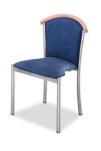 Art.Dolly, Chaise avec structure en acier chromé, assise et dossier rembourrés, revêtement en tissu, pour le contrat et l'usage domestique