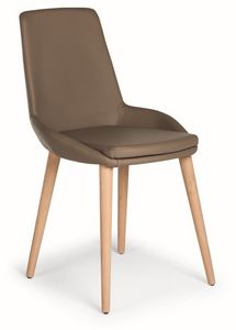 Baxi W, Chaise avec des jambes de bois et la coque rembourr�e