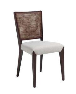 C38, Chaise en bois, tapissé et recouvert de tissu siège, dossier en maille, pour le contrat et les environnements domestiques
