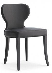 D07, Chaise en bois avec siège rembourré et le dos, revêtement en simili-cuir, pour le contrat et l'usage domestique