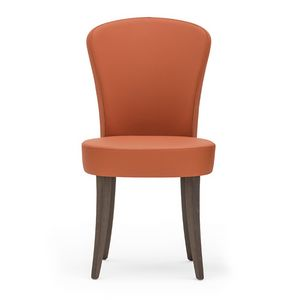 Euforia 00111, Chaise moderne en bois massif, assise et dossier rembourrés