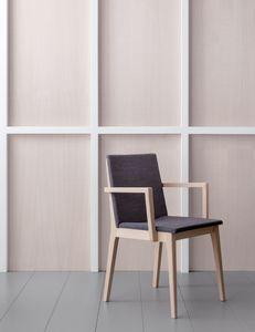 IRLANDA P, Chaise carrée en bois avec accoudoirs