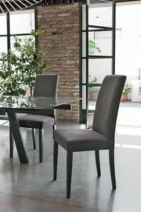 LUGANO SE504, Chaise avec socle en bois, siège et dossier rembourrés, revêtement en tissu, dans un style moderne