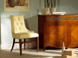 MELODY chair 8198S, Chaise entièrement tapissée sans accoudoirs, matelassé