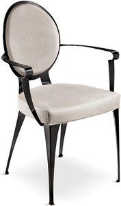 Miss chaise avec accoudoirs et dossier rembourré, Chaise rembourrée avec structure en fer