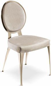 Miss chaise avec dossier rembourré, Chaise contemporaine avec dossier rond rembourré