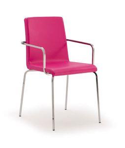 PL 511, Chaise métallique rembourrée avec bras, pour les restaurants