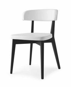 Poison, Chaise en bois de hêtre, rembourrée en cuir, en différentes couleurs