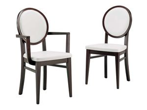 SE 49 / H, Chaise en bois revêtu de tissu, avec le dos ovale