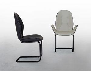 SORRENTO, Chaise avec ou sans accoudoirs, base en porte-à-faux