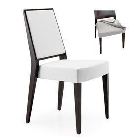 Timberly 01715, Chaise empilable, cadre en bois massif, assise et dossier rembourrés, siège amovible en tissu, pour les cantines
