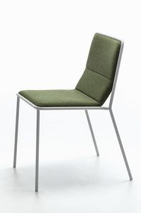 Tres, Chaise en métal moderne avec assise rembourrée, lumière