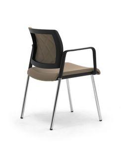 Wiki Tech 4G, Chaise en métal avec accoudoirs, avec dossier de rhombus