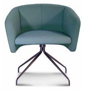 ART. 0055 BALÙ Office, Chaise pivotante de bureau, avec structure en métal, en différentes couleurs