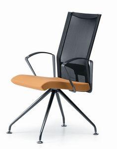 AVIANET 3649, Chaise avec base en métal, avec accoudoirs, pour le bureau