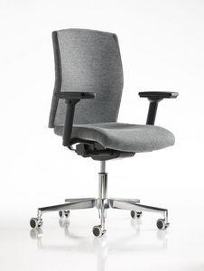 Fit, Chaise de bureau, accoudoirs réglables, inserts métalliques