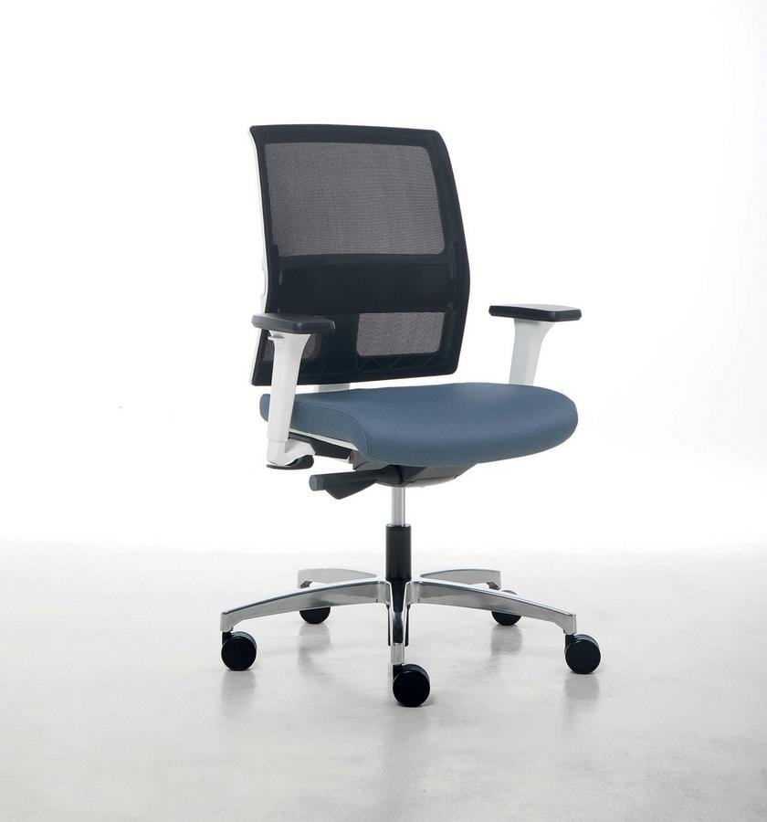 Omnia White 01, Chaise de bureau avec structure blanche