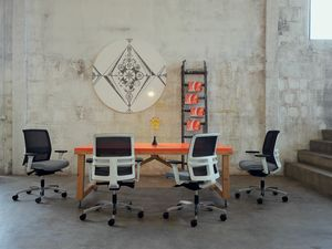 Omnia White Plus 01, Chaise de bureau avec dossier bas
