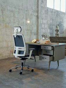 Omnia White Plus 01 PT, Chaise de bureau élégante avec repose-tête