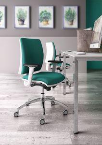 Sprint W, Élégante chaise de bureau de la tâche, avec une finition blanche