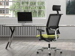 TECNA, Chaise de bureau avec dossier en mesh, appui-tête, support en aluminium