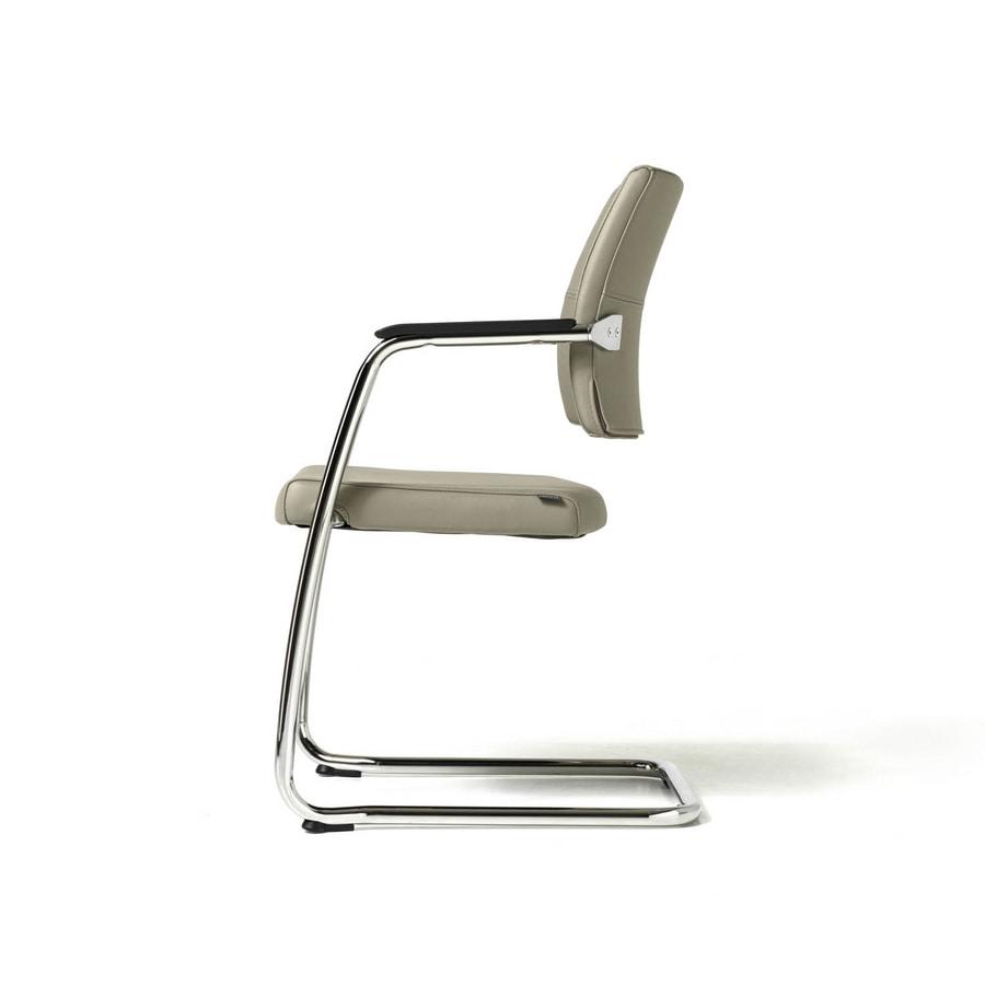 Venus chair, Chaise visiteur pour les clients, cadre chromé, empilable